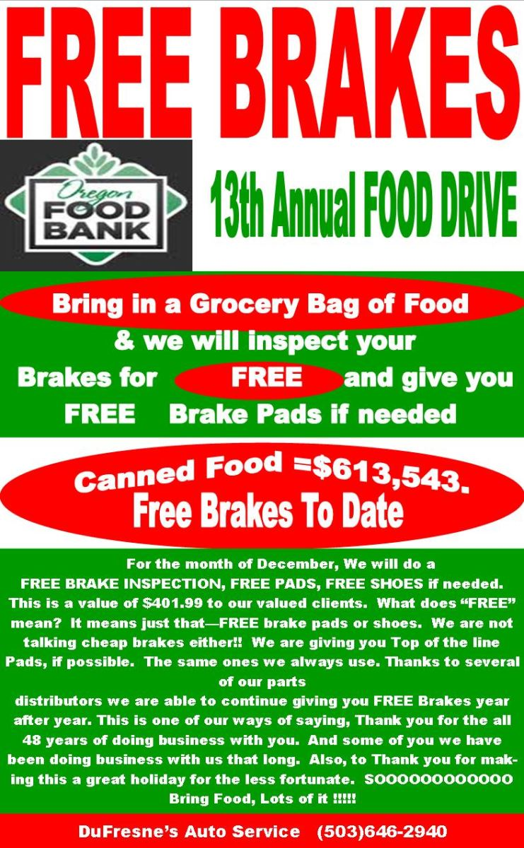 Free Brakes with Grocery bag of Food.