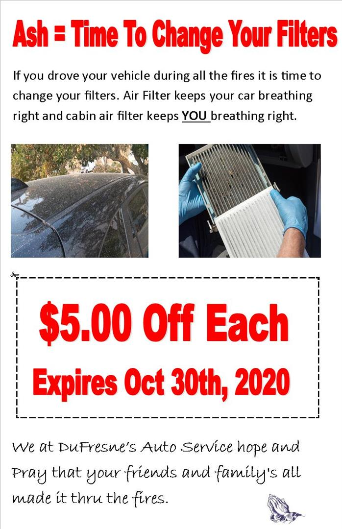 With all the ash in the air last month it is time to change your filters