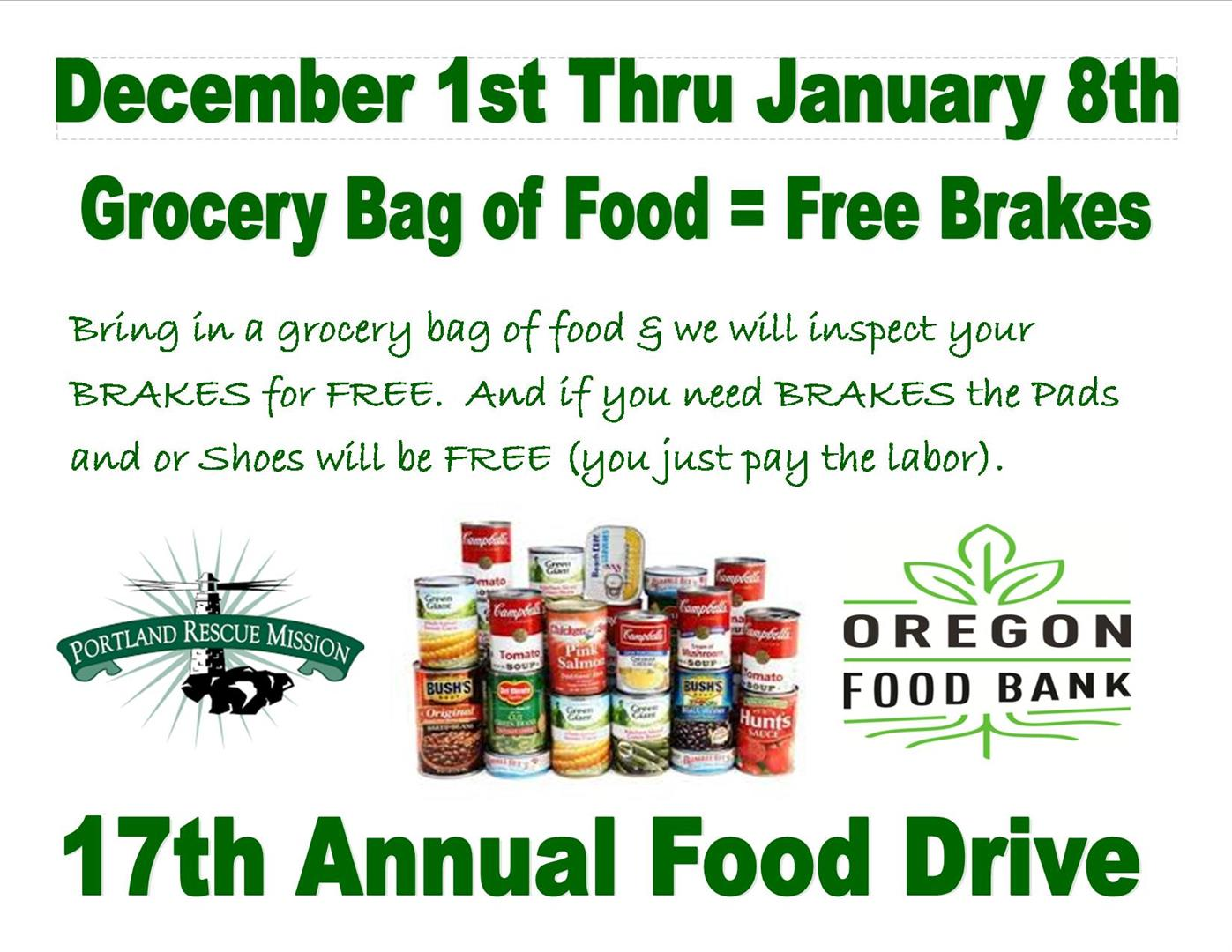 17th year -Free Brakes with a grocery bag of food.